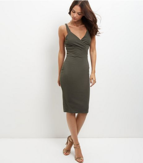 Cameo Rose Khaki Wrap Front Bodycon Dress | New Look