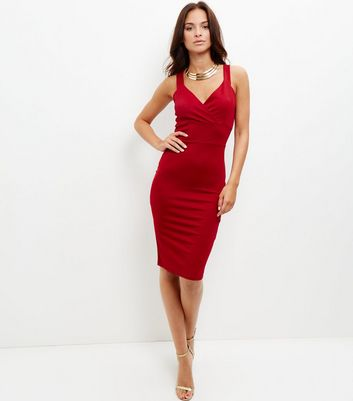 Cameo Rose Red Wrap Front Bodycon Dress