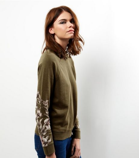 Khaki Floral Print Sleeve Jumper | New Look