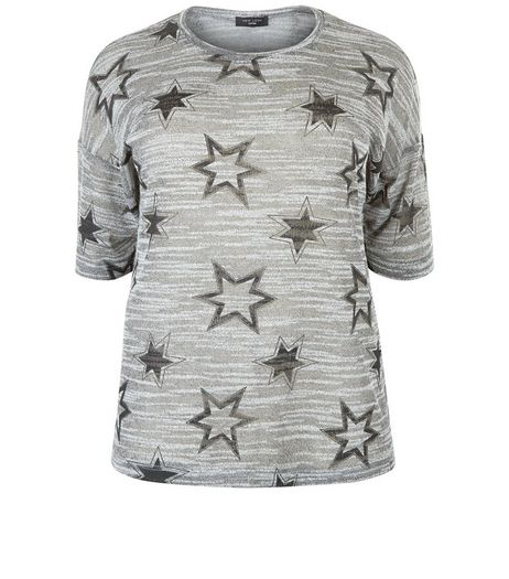 Curves Grey Burnout Star Print Top | New Look