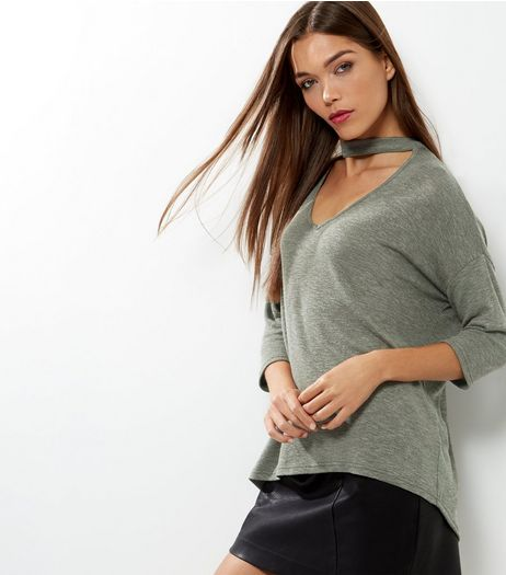 Khaki Choker Neck 3/4 Sleeve Top  | New Look