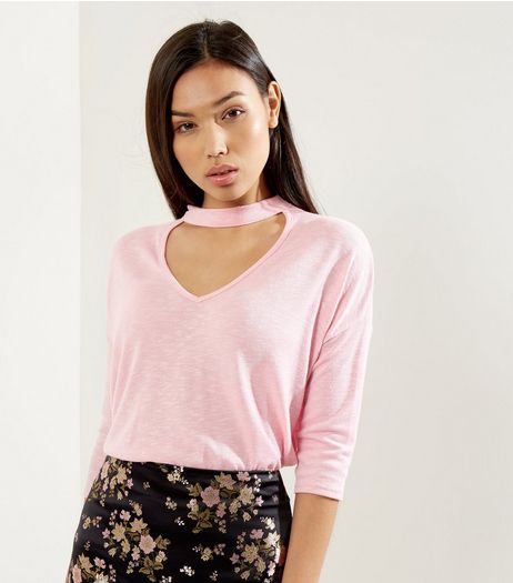 Shell Pink Choker Neck 3/4 Sleeve Top  | New Look