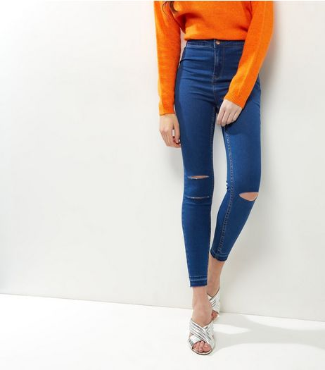 Blue Ripped Knee High Waist Skinny Hallie Jeans  | New Look