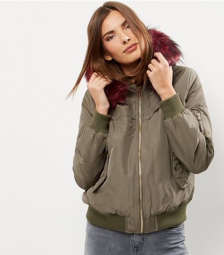 Khaki Faux Fur Trim Hooded Bomber Jacket  | New Look
