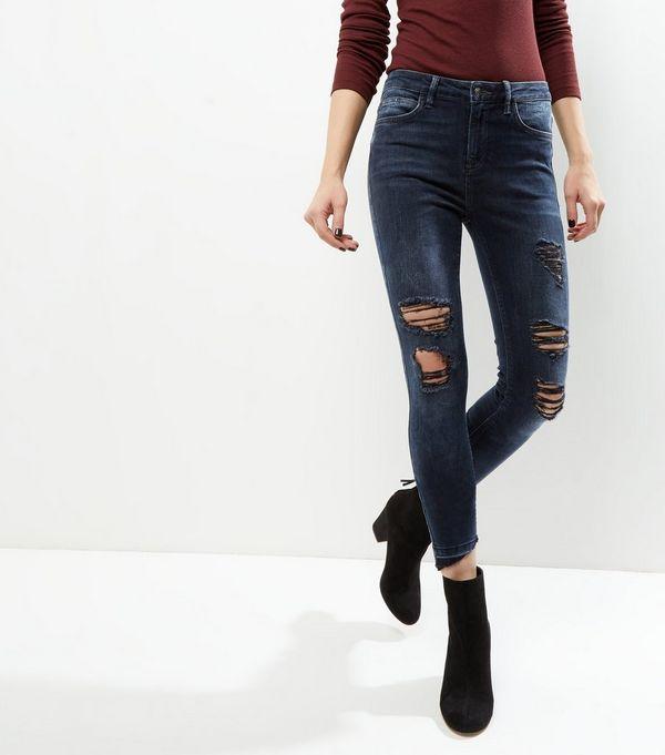 Dark Blue Angled Hem Ripped Skinny Jeans