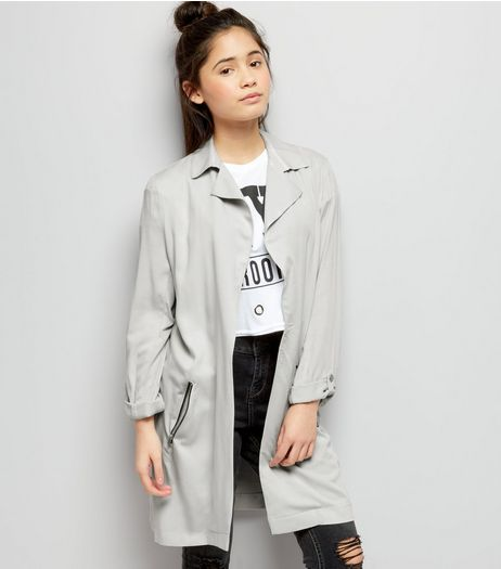 Teens Grey Zip Pocket Mac | New Look