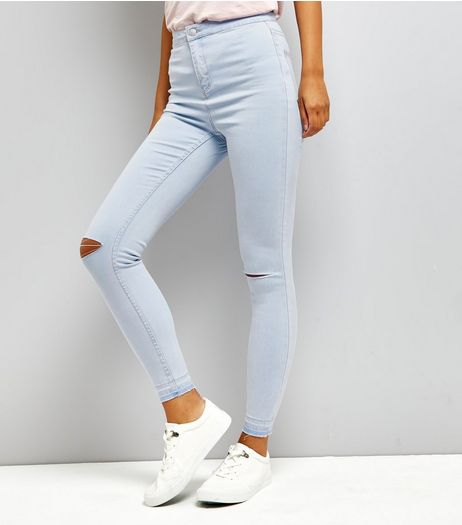 Blue Ripped Knee High Waist Skinny Jeans  | New Look