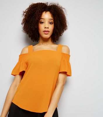Yellow Short Sleeve Cold Shoulder Top