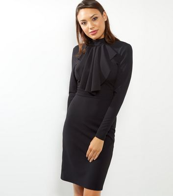 Blue Vanilla Black Ruffle Front Funnel Neck Dress
