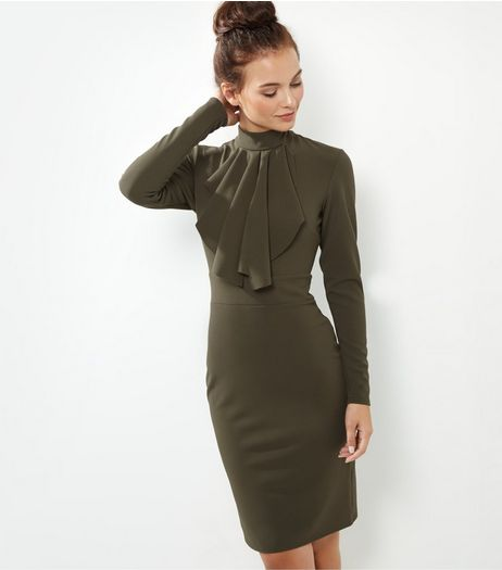 Blue Vanilla Khaki Ruffle Front Funnel Neck Dress | New Look