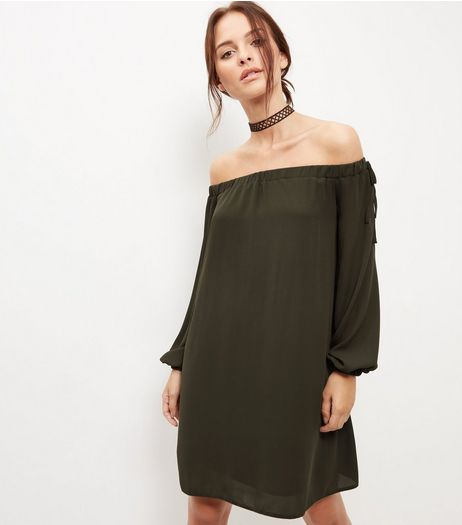 Blue Vanilla Khaki Bardot Neck Dress | New Look