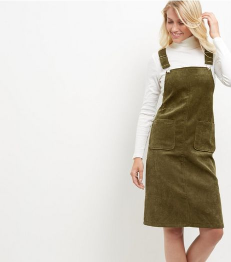 Blue Vanilla Khaki Cord Pinafore Dress | New Look