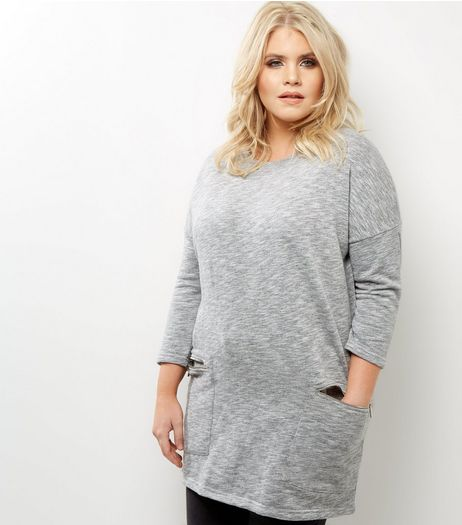 Curves Grey Zip Pocket Tunic  | New Look