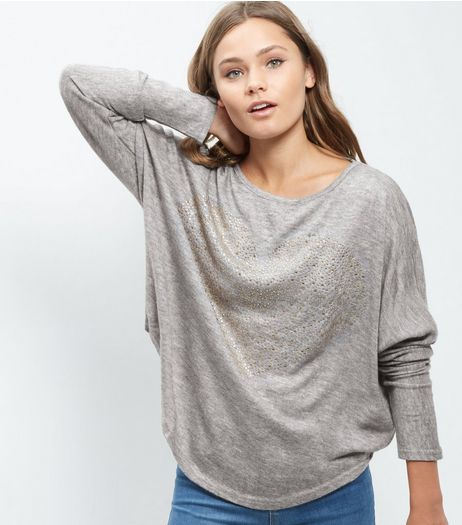 Blue Vanilla Grey Embellished Heart Batwing Top | New Look