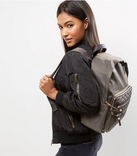 Grey Quilted Pocket Front Backpack | New Look