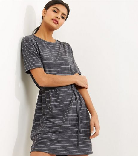 Grey Stripe Tie Up Short Sleeve Tunic Dress | New Look