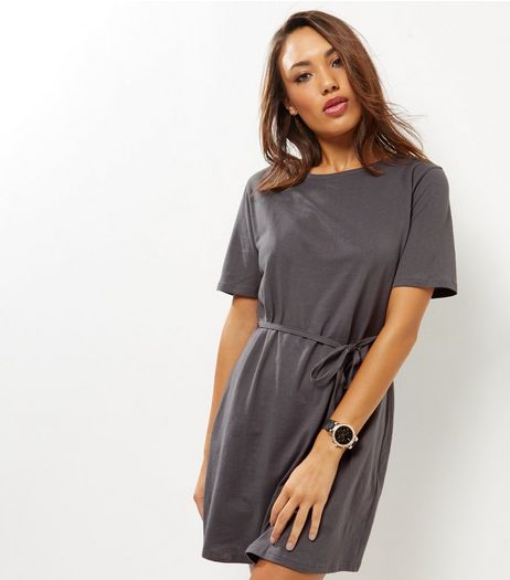 Grey Tie Waist Short Sleeve T-Shirt Dress  | New Look