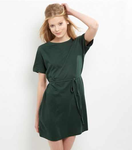 Green Tie Waist Short Sleeve Tunic Dress | New Look