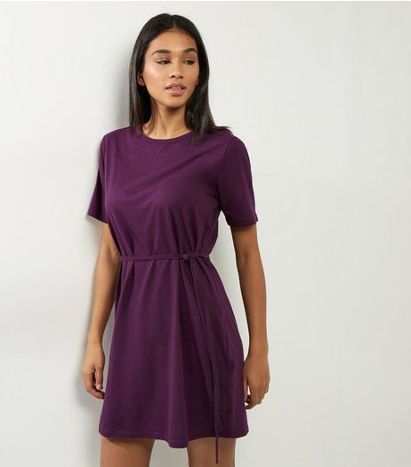 Purple Short Sleeve Tie Waist T-Shirt Dress  | New Look