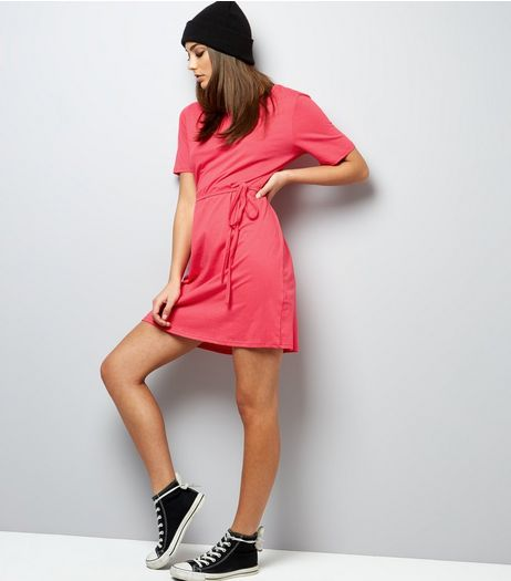 Pink Tie Waist Short Sleeve T-Shirt Dress | New Look