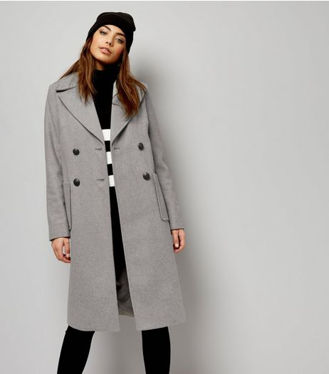 Grey Double Breasted Midi Coat | New Look