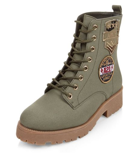 Teens Khaki Canvas Army Badge Lace Up Boots | New Look