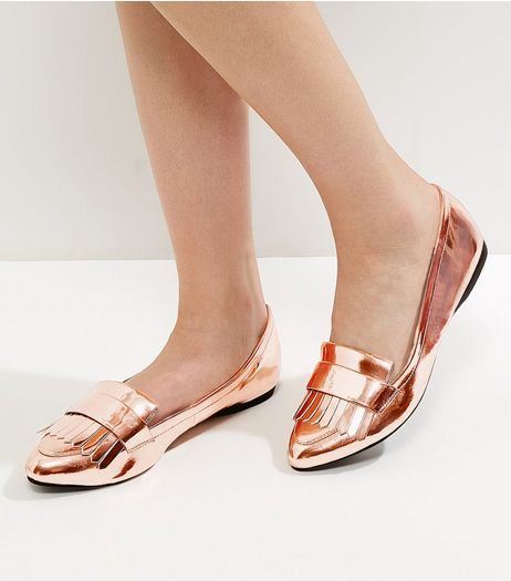 Wide Fit Rose Gold Fringed Pointed Loafers | New Look
