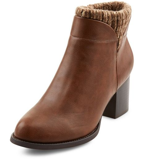 Teens Tan Knitted Cuff Ankle Boots | New Look