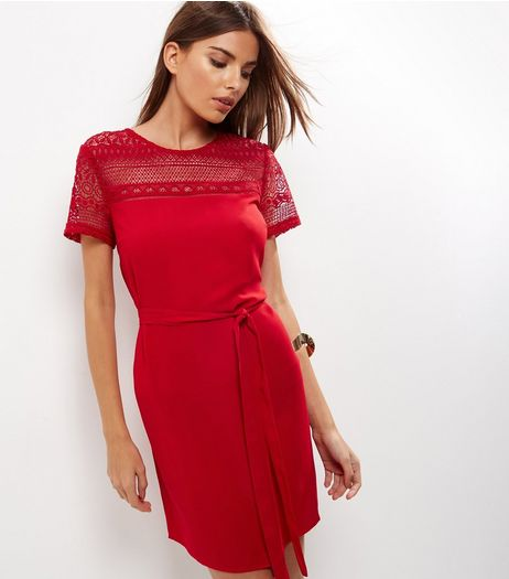 Red Lace Panel Yoke Tie Waist Dress | New Look