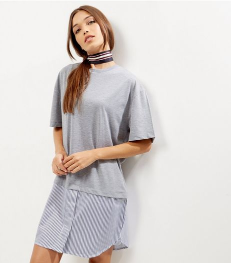Grey 2 in 1 Oversized T-Shirt | New Look