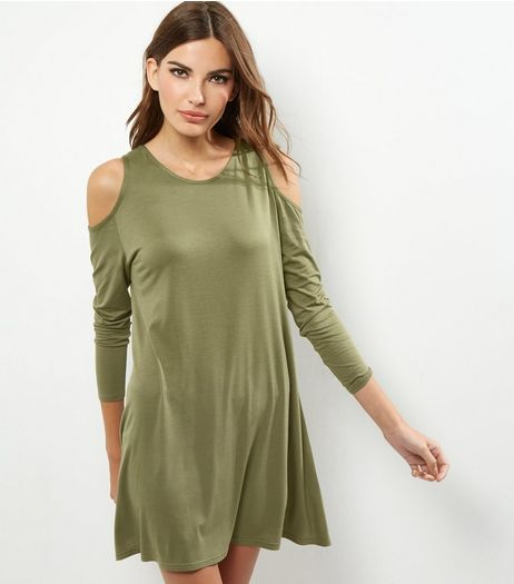 Khaki Cold Shoulder Long Sleeve Swing Dress | New Look