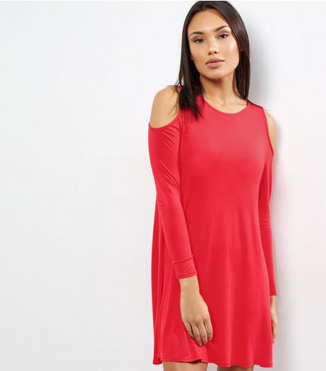 Red Cold Shoulder Long Sleeve Swing Dress | New Look