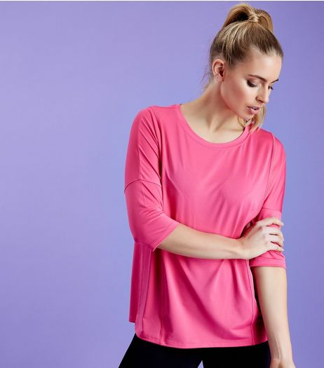 Bright Pink Mesh Oversized Sports T-Shirt  | New Look