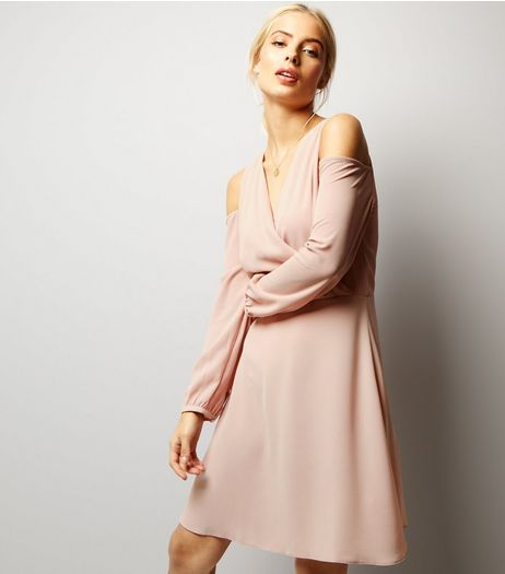 Shell Pink Cold Shoulder Wrap Front Dress | New Look