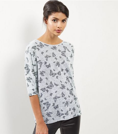 Light Grey Butterfly Print Top  | New Look