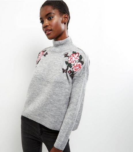 Pale Grey Floral Embroidered Funnel Neck Sweater  | New Look