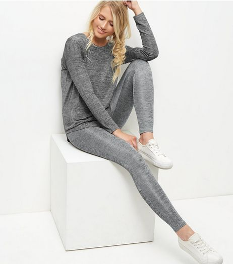 Blue Vanilla Grey Zip Back Sweater And Leggings Set | New Look