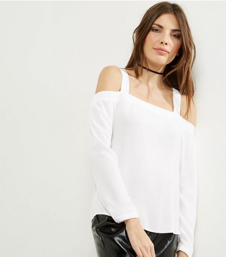White Strappy Cold Shoulder Top | New Look