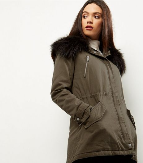 Khaki Contrast Borg Lined Parka | New Look