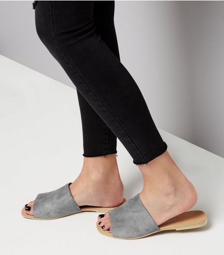 Wide Fit Grey Suede Mules | New Look