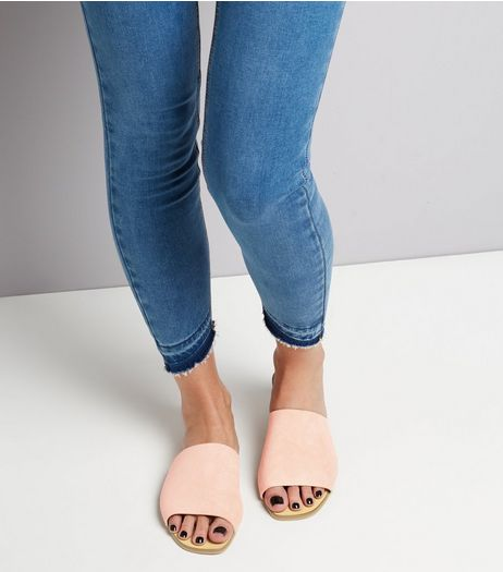 Wide Fit Nude Pink Suede Mules | New Look