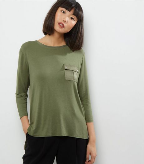 Khaki Pocket Front Sateen Back Top | New Look