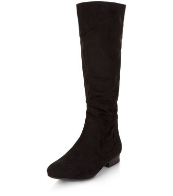 Teens Black Suedette Slouch Boots