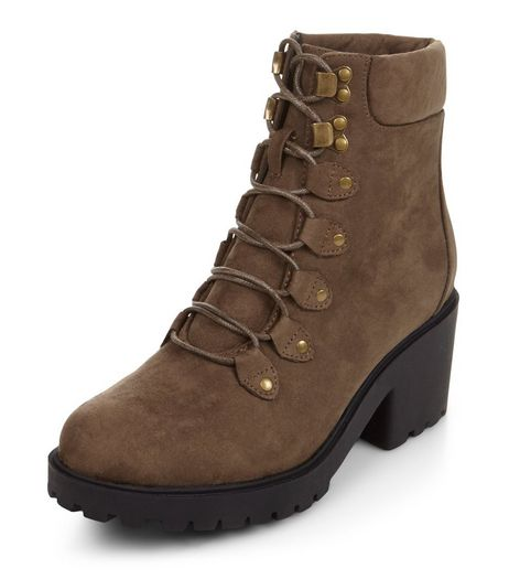 Teens Khaki Suedette Lace Up Block Heel Boots | New Look