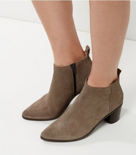 Grey Suede Pointed Block Heel Chelsea Boots | New Look