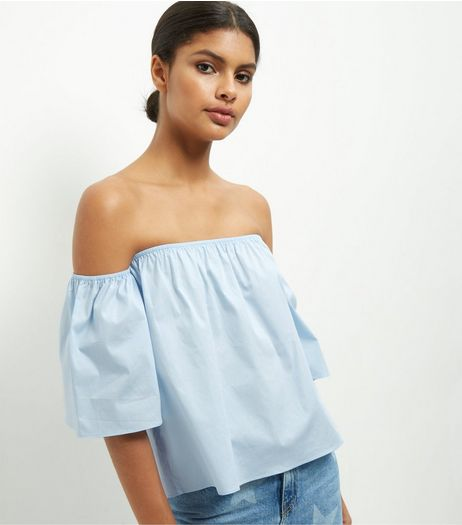 Blue Bardot Neck Top  | New Look