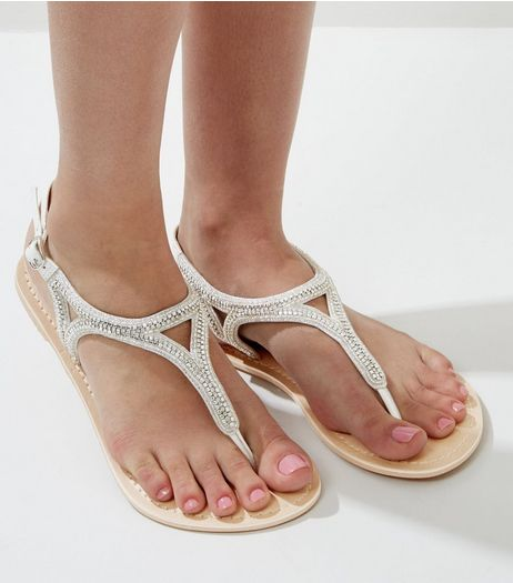 Wide Fit White Leather Embellished Toe Post Sandals | New Look
