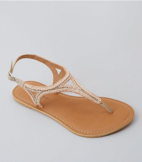Wide Fit Pink Beaded Leather Sandals | New Look