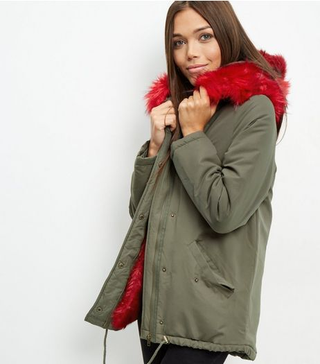 Khaki Bright Faux Fur Trim Parka | New Look