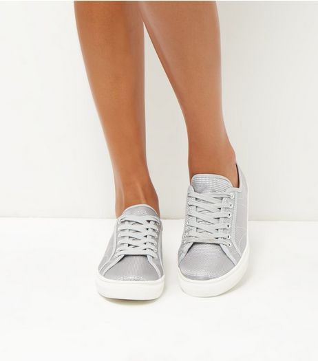 Grey Metallic Textured Trainers | New Look